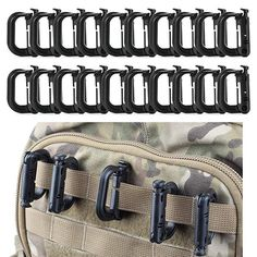 FansArriche 20 Pcs Multipurpose D-Ring Grimloc Locking for Molle Webbing with Gift Box (Black) : Sports & Outdoors. Tactical multipurpose secure D-ring locking. Molle Gear, Molle Backpack, Molle Pouches, Tactical Gear, Gear 4, Engineering Plastics, Duty Gear, Zipper Pouch