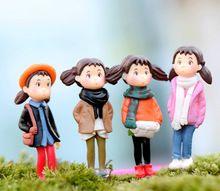 4 pcs adorável pepole mulheres menina mei alta 4 cm fada do jardim miniaturas gnome decoração artesanato decoração de casa bonsai musgo terrário para DIY(China (Mainland))