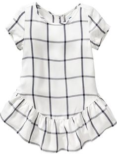 Old Navy fall fashion for toddler girl. Windowpane-Plaid Dresses for Baby