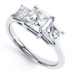 R3D005 - Graduated Princess Three Stone Ring. A classic, gorgeous three stone princess cut diamond ring.