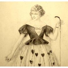 American Art - Sheldon: Fashion Model holding a string - 1921 Illustration Art Original Drawing