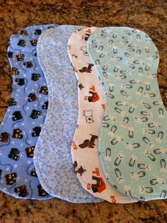 """These burp clothes were so easy to make. I made a set of them for my brother's new born baby, and my """"soon-to-be-mom"""" friend."""