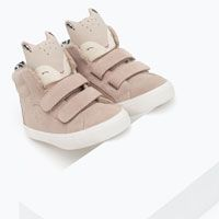 LEATHER BASKETBALL BOOTS WITH SQUIRREL DESIGN from Zara