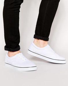 ASOS | ASOS Lace Up Sneakers in White at ASOS