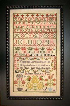 cross stitch samplers antique | ... 1848 Antique Sampler Reproduction cross stitch chart Samplers Revisit