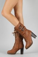 KM-1 Buckle Lace Up Military Boot