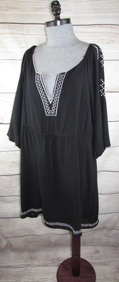 22ee6bfbf44 Details about Lady s World 3X Black Rayon Challis Embellished Peasant Jams  Dress Boho Tunic