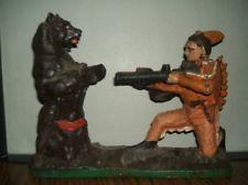 Indian & Bear Cast Iron Bank