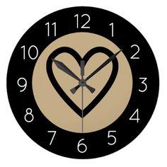 Elegant Love Heart Wall Clock Golden - elegant gifts gift ideas custom presents