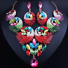 Wedding Jewelry Hand-painted Feather shaped Crystal Rhinestone Necklace Earring set African Bridal Jewelry Sets //Price: $US $22.79 & FREE Shipping //     #female