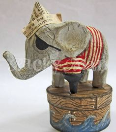 Arrrr! Pirate Elephant - PAPER CRAFTS, SCRAPBOOKING & ATCs (ARTIST TRADING CARDS)