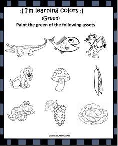 Learning Colors, Kindergarten Worksheets, Preschool, English, Words, Green, Painting, Kid Garden, Painting Art