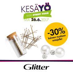 GLITTER PINNIT 2€ / PRK & TUPLAHELMIKORVIKSET 3€  -30% kun ostat vähintään 3 tuotetta.