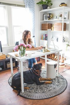 Shared home office ideas so you can learn how to work from home together. Our office decorating experts show you how to design a workspace for two. From desks to decor, create a working space in your home. For more home office ideas go to Domino. Office Space Design, Home Office Space, Office Workspace, Home Office Desks, Office Furniture, Small Office, Furniture Ideas, Office Setup, Kitchen Office