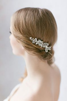 Crystal and Pearl Accented Hair Comb Lavender by Jurgita