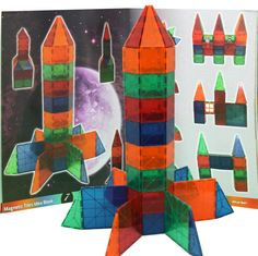 Amazon.com: Award Winning Magnetic Stick N Stack 36 full color page Idea book with over 100 structure ideas: Toys & Games