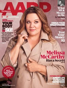 The comedienne talked to the April/May issue of AARP The Magazine about how it's actually harmful to women for so much fuss to be made of her body. Read Magazines, Trend News, Melissa Mccarthy, How To Be Likeable, Old Actress, Trending Topics, Selling On Ebay, Getting Old, Female Bodies