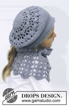 "Sweet Marleen - Crochet DROPS hat and neck warmer in ""Karisma"". - Free pattern by DROPS Design Crochet Cowl Free Pattern, Bonnet Crochet, Crochet Beret, Crochet Kids Hats, Crochet Cap, Crochet Girls, Love Crochet, Crochet Scarves, Knitting Patterns Free"