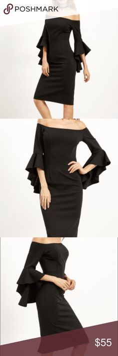 Bell Sleeve Off the Shoulder Dress D E S C R I P T I O N                                      Black Off the Shoulder Dress. The unique ruffle details on the bell sleeve makes the perfect statement and makes this more than your average LBD.         C O N T E N T 95% Polyester 5% Spandex                     F I N I S H  T H E  L O O K w/ your favorite sky high heels and a bold red lip  Dresses Midi