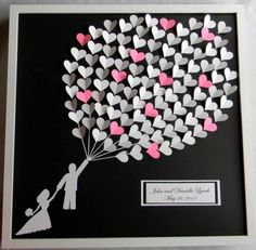 ~ You could add a little twist to this by having your guest write messages on the heart shaped pieces of paper to the balloon,and make it a unique #wedding #guestbook