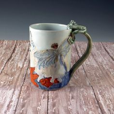 Pottery Cup Waterlily Ceramic Floral Handmade by Botanic2Ceramic