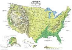Topographical map of the United States. Topography Map, Us Geography, City Layout, Adventure Magazine, United States Map, Us Map, Mountain Range, Pokemon Cards, Map Art