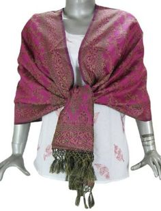 Evening Indian clothing accessories - Banarsi Silk Scarves for Women ClothesCraft. $46.00