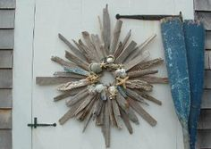 Driftwood and shell wreath.