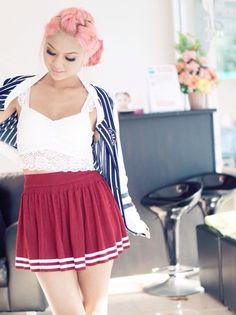 #pink #hair #style #asian #fahion #foki #soirak