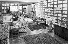 Residência Paulo Hess - Sala de estar e alpendre  Arquitetos: Rino Levi, Luis Carvalho franco, Roberto Cerqueira César - 1955