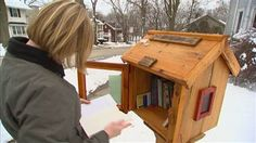 Free little homemade libraries in front yards for a community