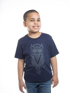 Childrens Baby Navy Owl Shirt YL Unisex by KayaJacobClothing