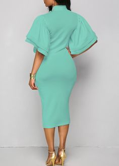 Layered Sleeve Tie Neck Sheath Dress on sale only US$34.90 now, buy cheap Layered Sleeve Tie Neck Sheath Dress at liligal.com