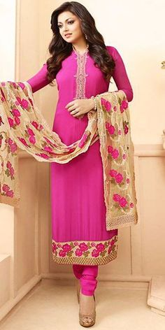 Madhubala Georgette Pink Straight Suit With Dupatta.