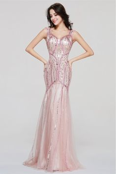 Graceful Mermaid Sweetheart Crystal Sequined Pink Tulle Prom Evening Dress  With Straps bc02399f6708