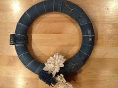 Old blue jeans denim wreath