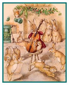 Bunny Rabbit Cicely Makes Cider Inspired by Beatrix Potter Counted Cross Stitch Pattern