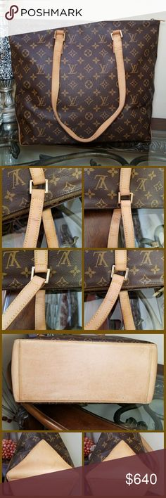Authentic Louis Vuitton Cabas Mezzo LARGE TOTE 100% Authentic Louis Vuitton Cabas Mezzo  Date Code AR1000 Used / Pre-Owned Bag  OUTSIDE FLAWS: Minor rubs, scratches on canvas INSIDE FLAWS: Minor dirt stain and tiny spot on lining but looks clean. HANDLES: Patina, dirt, dry and crack lines. BOTTOM: Patina, dirt, rubs, dry and scratches. CORNERS: rubs, dirt and scratches METAL: Tarnishing  Cracks on the edge of the inside upper parts Minor storage smell (no smell to us) Please read Additional…