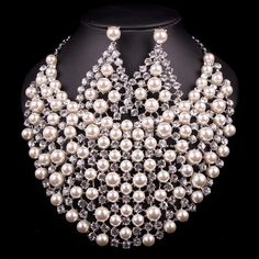 Bridal Silver Plated Pearl Jewelry Sets