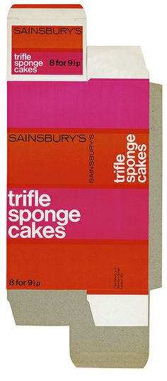 Eye 87 - Modern typography! Trifle Sponge Cakes,1971 - packaging that lets the type do the work.