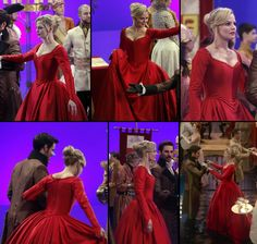 Emma Swan's red ballgown! This is also a royal dress, but of an adult princess, not a teenager. This one is different, less trimmed, although equally sofisticated. She's not daddy's little girl now. She's a woman, and we all know what red means, right? Passion. Fire. Love. She's dancing with her true love, after all. Plus, in that ball, she's the only one dancing with such a striking dress, in a vivid colour. The others wear regular, more modern dresses. She stands out as the princess she…