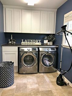 A functional, navy blue mudroom is the perfect place to fold the next load of laundry. Brown granite countertops, white cabinets, Samsung front load washer& The post Everyday Thoughts appeared first on Ajwa Homes. Laundry Room Colors, White Laundry Rooms, Farmhouse Laundry Room, Laundry Room Design, Laundry Decor, White Bathroom, Laundry Room Remodel, Basement Laundry, Laundry Room Cabinets