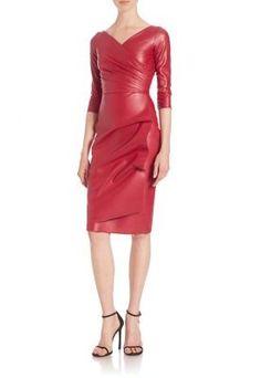 La Petite Robe di Chiara Boni Ruched Faux Leather Sheath Dress