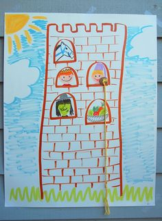 Have kids draw castle on bag. Cut out windows. Color character faces on separate papers and glue to popsicle sticks. The kids can grab characters out of bag and put in the windows.