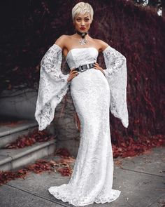 New Rules White Lace Off The Shoulder Long Flare Sleeve Sheath Maxi Dress - Sold Out Micah Gianneli, Lace Dress With Sleeves, Sleeve Dresses, Lace Dresses, Black Wedding Dresses, Glamour, Mannequins, Dress To Impress, White Lace