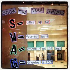 """Classroom swag! The kids are loving it. """"Mrs. Goodrich I'm rocking at showing my swag!"""""""
