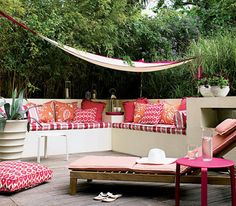 http://img4.realsimple.com Red and orange patterned terrace