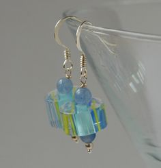 Candy cane glass bead and silver earrings - pale blue, mid blue, yellow £10.00