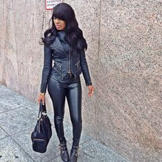 Winter Fashion All Back Everything Biker Leather Jacket Dope Outfit Pretty Girl Swag Fashionista Streetwear Urban Fashion Style Trend OOTD Black Beauty African American Beautifiedtina
