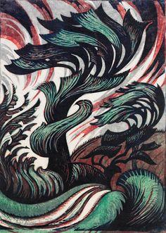 No Brash Festivity, Sybil Andrews, Storm, 1935 Linocut 33 x 23 cm . Illustrations, Illustration Art, Sybil Andrews, Linocut Prints, Art Prints, Block Prints, Canadian Artists, Wood Engraving, Oeuvre D'art